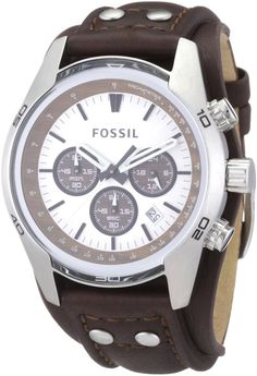 Fossil CH2565 Mens Cuff Chronograph Brown Leather Watch  New in Box