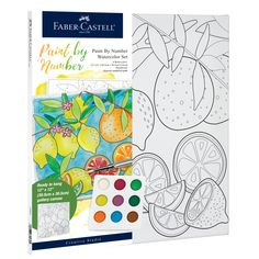 Beginners can create a fruit watercolor painting with Watercolor Paint by Number Produce! This paint by number includes a unique paint pallet, paint brush and seperate number guide that will allow you to create a masterpiece. With the quality Faber-Castell products you will create a watercolor piece of art that you will be proud to hang on your wall! Watercolor Canvas, Watercolour Painting, Floral Watercolor, Watercolors, Pallet Painting, Diy Painting, Point Paint, Art Sets For Kids, Artist Materials