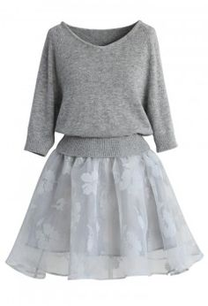 Bonjour Twinset Organza Dress in Grey - Retro, Indie and Unique Fashion