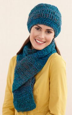 Ridged Hat And Scarf - free pattern, nice hat shape. Requires sign-in to lion brand