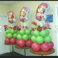 Balloon Ideas for Strawberry Shortcake party! 4th Birthday Cakes, First Birthday Parties, Birthday Party Themes, Birthday Ideas, Birthday Decorations, 2nd Birthday, Strawberry Shortcake Birthday, Balloon Decorations, Balloon Ideas