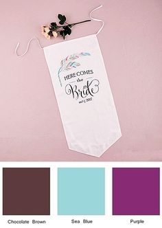 """Feather Whimsy"" Personalized Here Comes the Bride Banner"