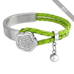 Bling Jewelry Lucky Clover Charm Clasp Half Cuff Braided Leather Green Bracelet