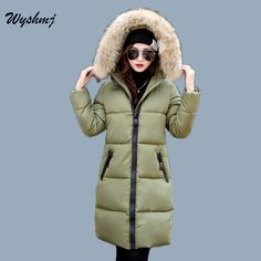 32.98$  Buy here - http://alig7m.shopchina.info/1/go.php?t=32819183729 - WYSHMJ  Winter Jacket Women 2017 New Large Fur Collar Hooded Thick Coat Outwear Soild Color Slim Female Clothing Pockets WH152 32.98$ #aliexpress