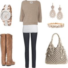 Tan and white, created by aracely26 on Polyvore