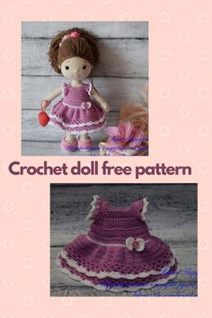 Crochet doll free pattern amigurumi girl Doll Amigurumi Free Pattern, Crochet Dolls Free Patterns, Amigurumi Doll, Free Crochet, Crochet Hats, How To Start Knitting, Double Crochet, Baby Toys, Bows