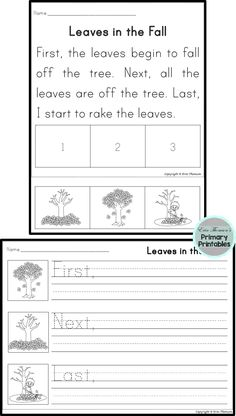 Sequencing Stories ~ Seasons pack. Includes stories for fall, winter, spring, and summer. Uses the words first, next, and last.