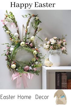 Valery Madelyn Easter Bunny Wreath with Pink Bow and Easter Eggs easter wreaths faux flowers Christmas Yarn Wreaths, Easter Wreaths, Ester Decoration, Easter Crafts, Easter Decor, Easter Ideas, Shabby Chic Wreath, Easter Egg Designs, Easter Celebration