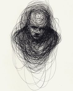 dark art Scribbled Portraits of Brooding Figures by Adam Riches Creepy Sketches, Creepy Drawings, Dark Art Drawings, Art Drawings Sketches, Contour Drawings, Charcoal Drawings, Drawing Faces, Arte Horror, Horror Art