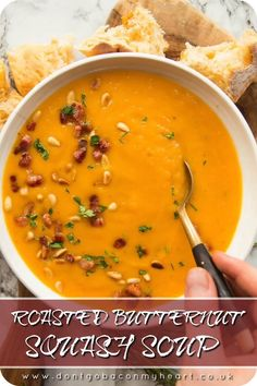 Oct 2019 - This Roasted Butternut Squash Soup is easy to make and bursting with flavour. It's creamy (without cream), rich and totally delicious! Roasted Butternut Squash The absolute key to this soup being so delicious is roasting Vegetarian Recipes, Cooking Recipes, Healthy Recipes, Soup Recipes Uk, Creamy Soup Recipes, Dinner Recipes, Healthy Soup, Roasted Butternut Squash Soup, Recipes With Butternut Squash