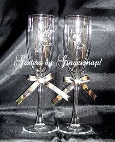 purple and camo wedding ideas | Camo wedding toasting glasses, Buck, Doe yes!