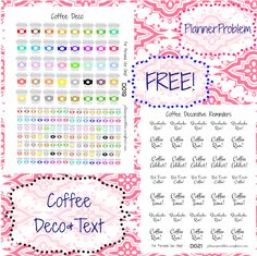 Decorative Coffee Stickers and Text! | Free Printable Planner Stickers from plannerproblem.wordpress.com! Download for free at the link below! https://plannerproblem.wordpress.com/2016/07/05/coffee-deco-decorative-text-free-printable-planner-stickers/