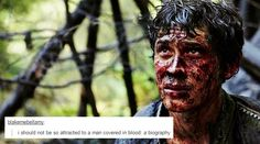 """""""i should not be so attracted to a man covered in blood: a biography."""" Bellamy Blake + text posts #The100"""