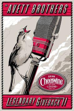 The Avett Brother's and Cheerwine Legendary Giveback II Poster by Charles Crisler. LOVE Avett Brothers