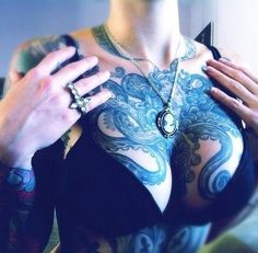 Octopus chest tattoo - Tattooed Girls ♥ - cute-tattoo.com