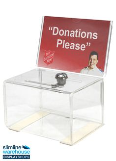 Donation Box with Lock- This donation box with lock is perfect for gathering ideas that employees have placed on suggestion cards to help improve their experience working within your business. These displays are also popular for collection donations at charities, ballots at community events, and getting ideas from customers to improve their experience in retail stores, coffee shops, restaurants, and cafes.