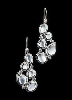 Moonstone & diamond earrings. Sterling silver five stone melange setting with a French wire back. A Darby Scott exclusive design. Moonstone - Sterling Silver -Diamonds