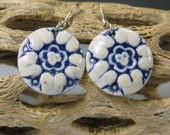 Navy Blue Porcelain Flower 2 Earrings With Sterling Silver Earwires