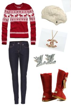 Not a big fan of the jewelry, but like the outfit, boots, and hat! for Christmas time..