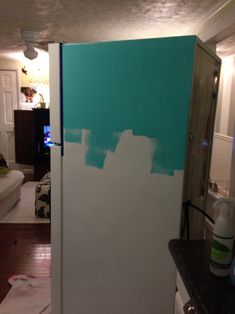 How to paint a refrigerator. I'm so doing hot pink...possibly with glitter! My kitchen my choice! Time to get crazy.