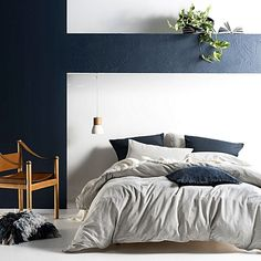 Instil a laid-back look into your bedroom with the stone-washed cotton Ellington Quilt Cover Set, Indigo from Linen House.