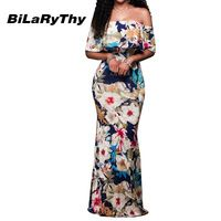 New Bohemian Style Womens Party Maxi Dress Summer Sexy Off Shoulder Ruffles Backless Floral Print Long Casual Dresses