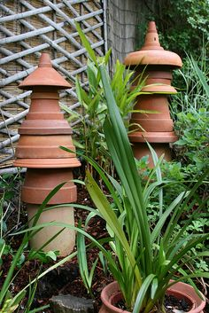 Worm tower and insects house Terra Cotta Pagoda Garden Sculpture utilitarian Garden Totems, Garden Art, Garden Design, Garden Whimsy, Garden Junk, Glass Garden, Garden Crafts, Garden Projects, Garden Ideas