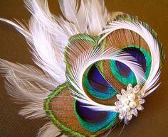Jeweled Natural Peacock Feather soft white fascinator clip $25