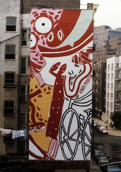 """Knox Martin, painter and instructor of painting and art classes in NYC at The Art Students League, discusses """"What Is Art? Outdoor Wall Paint, Outdoor Walls, Art Fund, Art Students League, Mural Painting, Paintings, Pink Abstract, Public Art, Cool Art"""