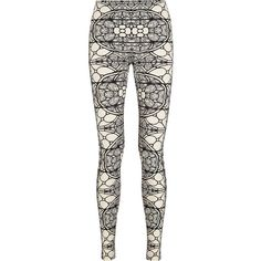 Alexander McQueen Printed stretch-jersey leggings (760 BRL) ❤ liked on Polyvore featuring pants, leggings, alexander mcqueen, bottoms, pull on pants, white high waisted trousers, high-waisted trousers, alexander mcqueen leggings and high waist stretch pants