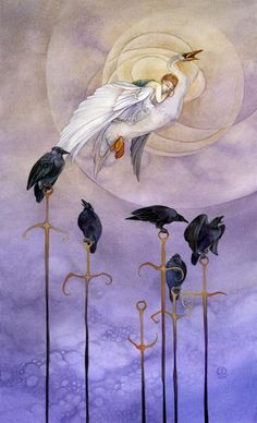 Six of Swords, Shadowscapes Tarot:  Passage away from difficulties, recovery after tribulations, experiencing change, dispondancy.
