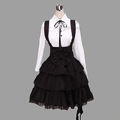 Long Sleeve Shirt Knee-length Suspender Skirt Cotton Classic Lolita Outfit 1748876 2016 – $76.99