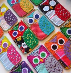 Felt/fabric embroiderd owls