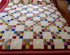 Amish 9 Patch Infant Quilt with hand quilted hearts unisex # patchwork quilts amish Amish quilt for sale Amish 9 Patch Infant Quilt with hand quilted flowers - unisex colors Colchas Quilting, Patchwork Quilt Patterns, Patchwork Blanket, Quilt Block Patterns, Pattern Blocks, Quilt Blocks, Log Cabin Quilt Pattern, Amische Quilts, Easy Quilts