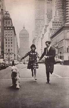 Mary Quant with her husband Alexander Plunket Greene on Park Avenue, December 1960.