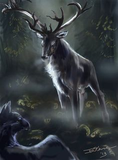"""Druids Trees:  #Stag ~ """"He Listens to All Who Speak,"""" by ElementalJess, at deviantART."""