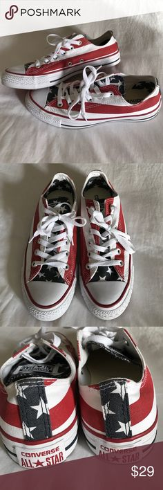 American Flag Converse Size 8 American Flag Converse shoes for sale! Worn once indoors, and in brand new condition!! Size 8 in women and perfect with jeans or shorts. Converse Shoes Sneakers