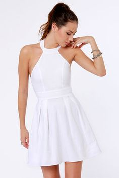 Casual and sweet white above the knee dress from Lulu's. Wear it with wedges or sandals with a pop of color. $37.50