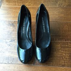 "Franco Sarto Shiny Black Pumps Great condition, 3.5"" heel with about 1/2"" platform. Bottoms of shoes has sticker residue. Purchased from Nordstrom. Franco Sarto Shoes Heels"