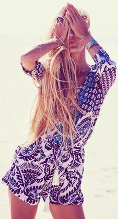 B☮H☮ Babe • ✓Patterned romper ✓Slim pompom belt ✓Color matching jewelry