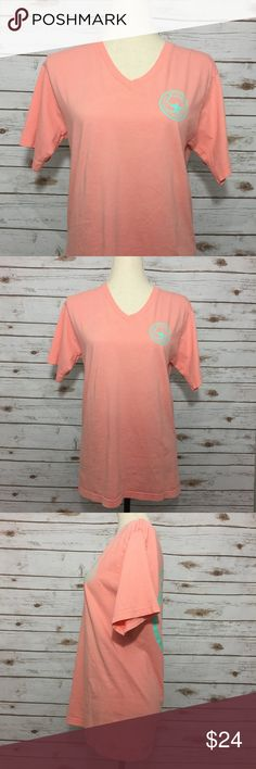 "Southern Shirt Co Signature Logo SS V Neck Tee Southern Shirt Co. Size Small. Color is ""Conch Shell"", coral with mint accenting. 100% cotton. See photos for measurements. Excellent Preowned Condition. Southern Shirt Company Shirts Tees - Short Sleeve"
