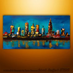Large Painting Abstract Original Modern Cityscape Art by Catalin