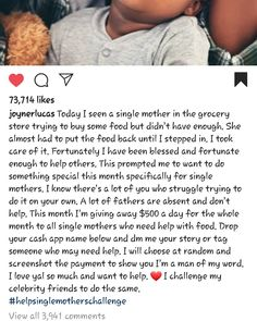 All single mothers go to @joynerlucas and tell your story. You probably have a bill to pay need dia... All single mothers go to @joynerlucas and tell your story. You probably have a bill to pay need diapers and groceries or just need some extra cash to carry through this month. God touch @joynerlucas heart to see the everyday struggle of mom's busting their asses off to make sure their kids have it! I'm bless to discover his page a few weeks ago and I'm happy I didand followed him or I… I'm Happy, Extra Cash, Your Story, Diapers, Helping Others, Mothers, Blessed, Told You So, Touch