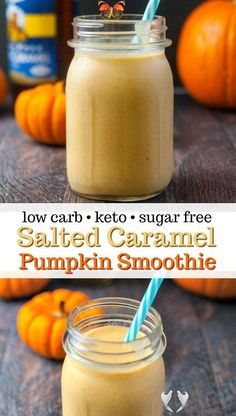 Easy Pumpkin Low Carb Smoothie Recipe with Salted Caramel Pumpkin Low Carb Smoothie with Salted Caramel - a delicious low carb breakfast on the go - high protein, low carb, healthy fats. #lowcarb #keto #smoothie #shake #highprotein #breakfast #pumpkin #saltedcaramel<br> This low carb salted caramel pumpkin smoothie is just the thing to get your going in the morning. With only 5.4g net carbs per serving, it could be a dessert too! Keto Smoothie Recipes, Low Carb Smoothies, Healthy Breakfast Smoothies, Shake Recipes, Keto Recipes, Healthy Breakfasts, Keto Desserts, Fruit Smoothies, Healthy Snacks