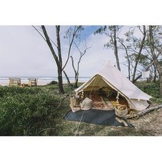 We found a private bush glade overlooking the beach and pitched a bell tent for this beautiful photo shoot for recently. Bell Tent, Happy Weekend, Glamping, Adventure Travel, Outdoor Gear, Photoshoot, Tents, Fingers, Beach