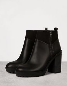 Combined wide platform heeled ankle boots - View All - Bershka Serbia