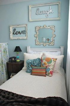 Ashley bedroom idea This picture basically created my love of white bedding and bright cushions <3
