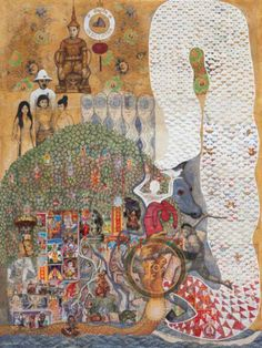 Leang Seckon Indochina 2014 Cambodia Mixed media and collage on canvas 200 x 150 cm (79 x 59 in)