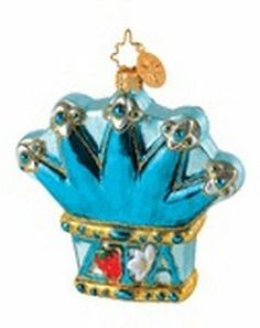Radko~1014744~Zeta Tau Alpha Crown~Faternity~Greek~Blown Glass Ornament~NWT~HTF