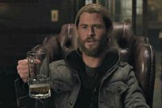 Doctor Strange gives Thor a magical mug of beer.